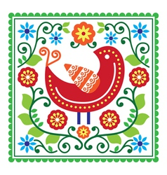 Folk art pattern with bird and flowers vector