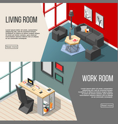 futuristic residential interior isometric banners vector image vector image