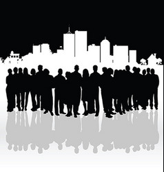 people silhouette front of building vector image
