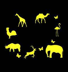 set of animals mammals birds and insects yellow vector image