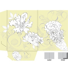 template for bag with floral ornament vector image vector image
