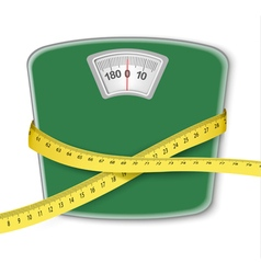 Weight scale with a measuring tape Concept of diet vector image vector image