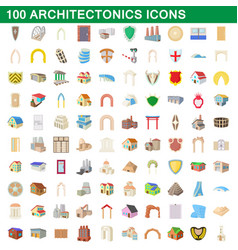 100 architectonics icons set cartoon style vector image