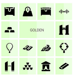 14 golden icons vector image