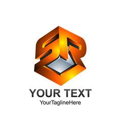 3d letter sr or srl initial alphabet logo design vector