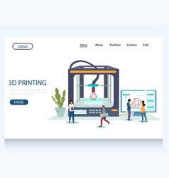 3d printing website landing page design vector