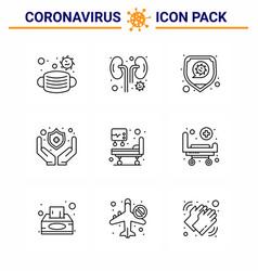 9 line set corona virus epidemic icons vector