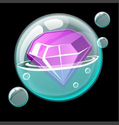 A beautiful gem in a cartoon soap bubble vector