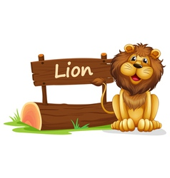 A lion near a wooden signage vector