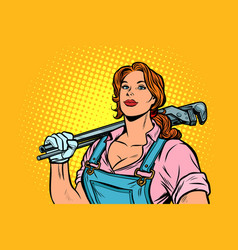 a strong woman mechanic plumber worker with vector image