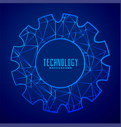 abstract composition of gear wheel in low poly vector image