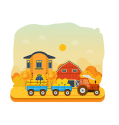 Agribusiness rural landscape farm and farmland vector