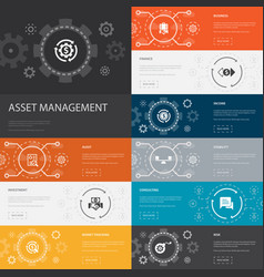 Asset management infographic 10 line icons banners vector