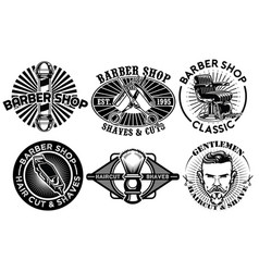 barbershop concept badge design set vector image