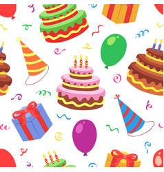 birthday seamless pattern vector image