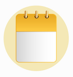 blank sheet of calendar yellow color on the light vector image