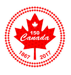 Canada 150 in circle maple leaf frame vector