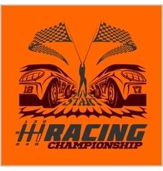 Car racing emblem and championship race badge vector
