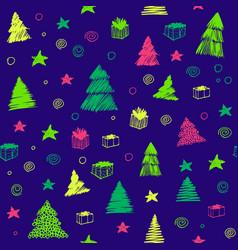 christmas tree seamless pattern hand drawn vector image