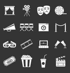 cinema icons set grey vector image