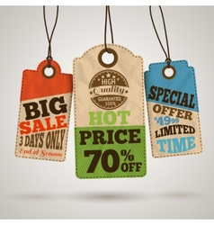 Collection of cardboard sale price tags vector image