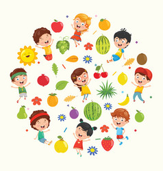 Collection of kids and fruits vector