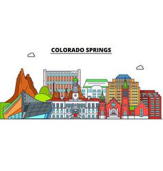 Colorado springs united states flat landmarks vector