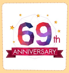 Colorful polygonal anniversary logo 2 069 vector