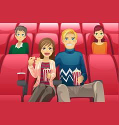 Couple watching movie vector
