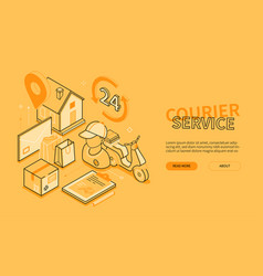 Courier service - yellow line design style vector