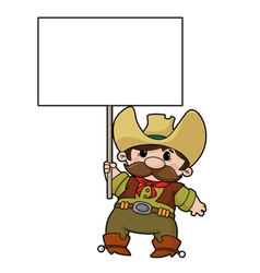 cowboy with blank sign vector image