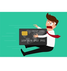 Credit card attack businessman vector image