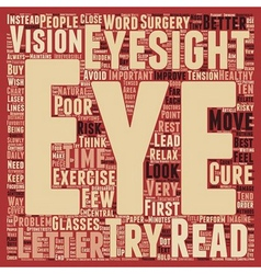 Cure Poor Eyesight text background wordcloud vector