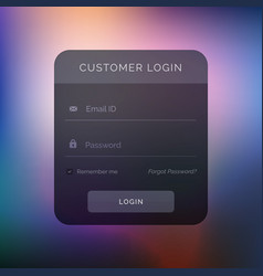dark user interface design for login template vector image