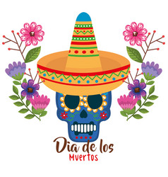 day of the dead mask with hat vector image