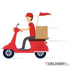 Delivery service on scooter motorcycle vector