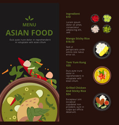 Design template of asian food menu vector