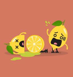 Died cut lemon with shocked lemon vector