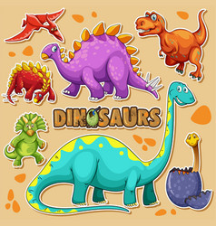 Different types of dinosaurs on poster vector