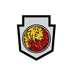 dragon and tiger in yin yang symbol crest mascot vector image
