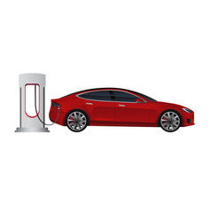 Electric car with charging station vector
