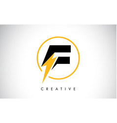 F letter logo design with lighting thunder bolt vector