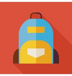 Flat School Bag with long Shadow vector image
