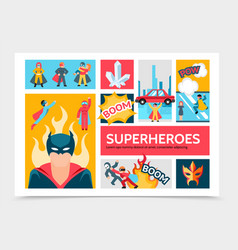 Flat super heroes infographic template vector