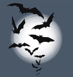 Flying bats Halloween background vector