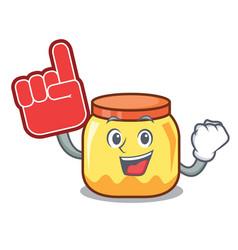 Foam finger cream jar mascot cartoon vector