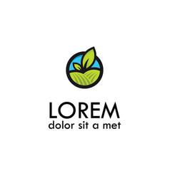 Fresh green leaves logo vector