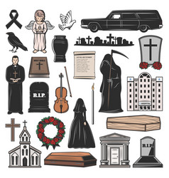 Funeral coffin grave candle and tombstone cross vector