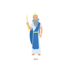 Grey bearded greek god zeus in long blue clothes vector
