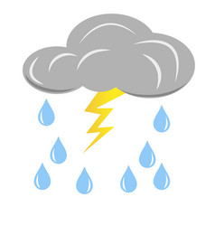 grey rain cloud with lightning and raindrops vector image